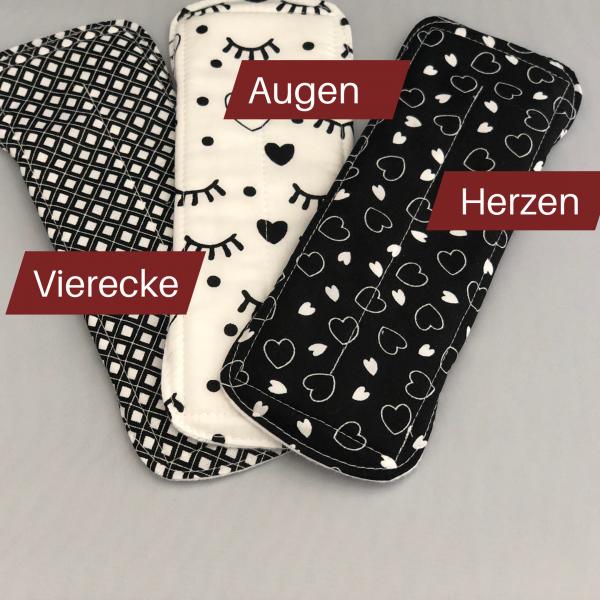 Produktbild von 3 Stoffbinden mit den Motiven Vierecke, Augen und Herzen